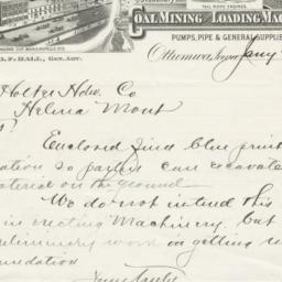 Ottumwa Iron Works. Letter