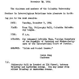 Announcements, 1954-11-28. ...