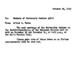Announcements, 1953-10-28. ...