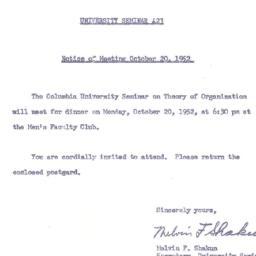 Announcements, 1952-10-08. ...