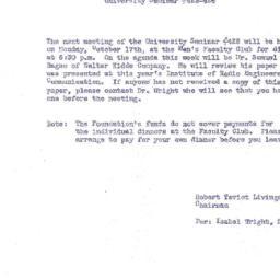 Announcements, 1955-10-17. ...