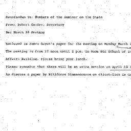 Announcements, 1973-03-26. ...