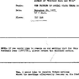 Announcements, 1977-11-29. ...