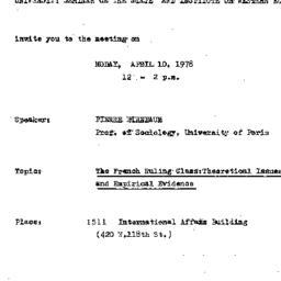 Announcements, 1977-04-10. ...