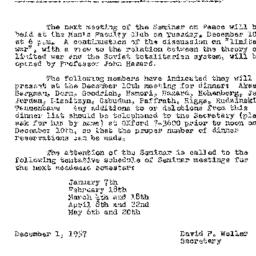 Announcements, 1957-12-01. ...