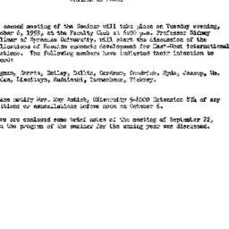 Announcements, 1959-09-22. ...