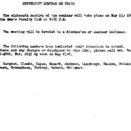 Announcements, 1961-05-09. ...