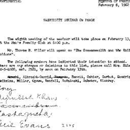 Announcements, 1962-02-08. ...