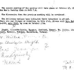 Announcements, 1961-10-12. ...