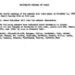 Announcements, 1961-10-31. ...