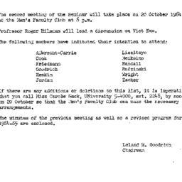 Announcements, 1964-10-12. ...