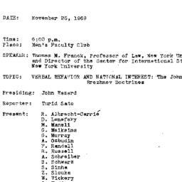 Minutes, 1969-11-25. The Pr...