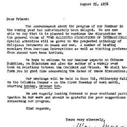 Announcements, 1957-08-25. ...