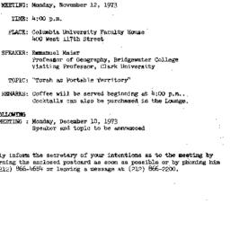 Announcements, 1973-11-12. ...