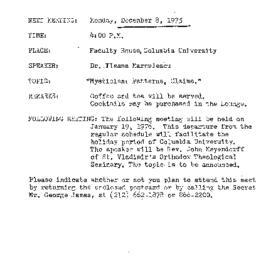 Announcements, 1975-12-08. ...