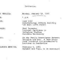 Announcements, 1981-01-12. ...