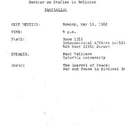 Announcements, 1982-05-10. ...