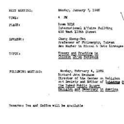 Announcements, 1985-01-07. ...