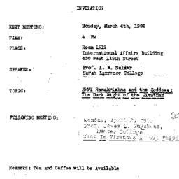 Announcements, 1985-03-04. ...