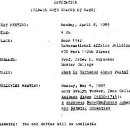 Announcements, 1985-04-08. ...