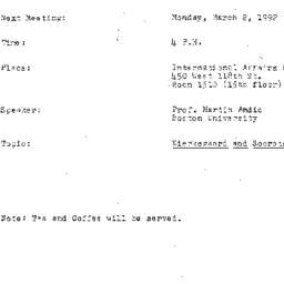 Announcements, 1992-03-02. ...