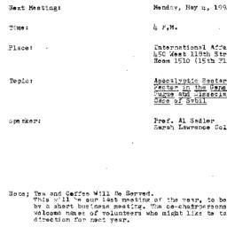 Announcements, 1992-05-04. ...