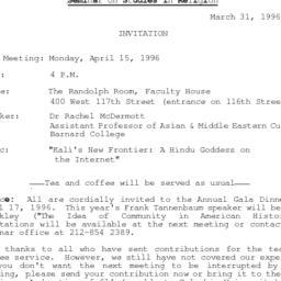 Announcements, 1996-04-15. ...
