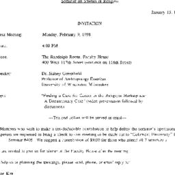 Announcements, 1998-02-09. ...