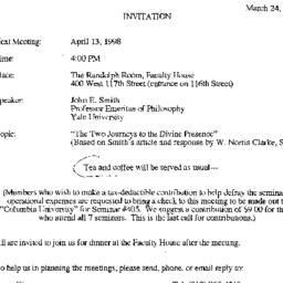 Announcements, 1998-04-13. ...