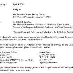 Announcements, 2000-04-04. ...