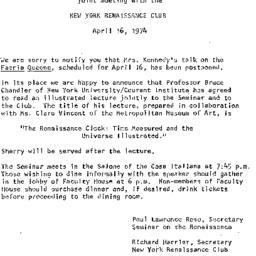 Announcements, 1974-04-16. ...