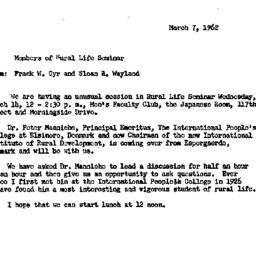 Announcements, 1962-03-07. ...