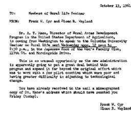 Announcements, 1961-10-13. ...