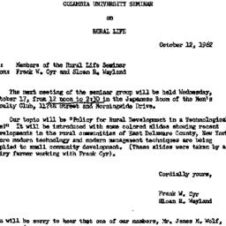 Announcements, 1962-10-12. ...