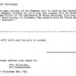 Announcements, 1957-10-11. ...
