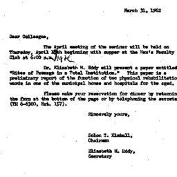 Correspondence, 1962-03-31....