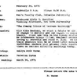 Announcements, 1971-02-24. ...