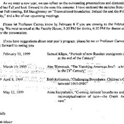 Correspondence, 1999-01-15....