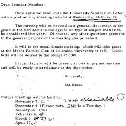 Announcements, 1962-10-09. ...