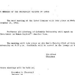 Announcements, 1962-11-13. ...