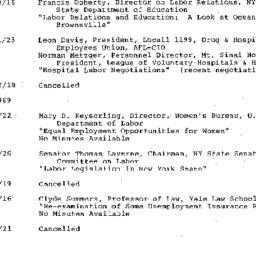 Schedules, Labor, seminar 4...
