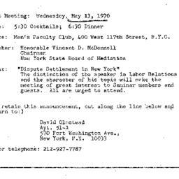 Announcements, 1970-05-13. ...