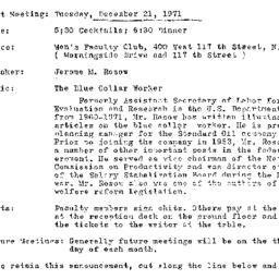 Announcements, 1971-12-21. ...
