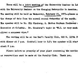 Announcements, 1973-02-21. ...