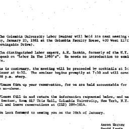 Announcements, 1981-01-06. ...