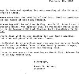 Announcements, 1983-02-28. ...