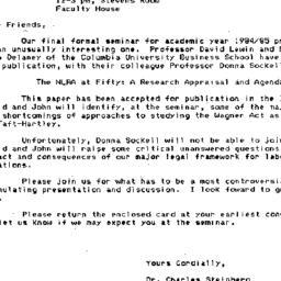 Announcements, 1985-05-03. ...