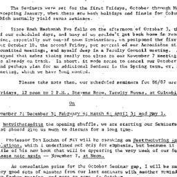 Announcements, 1986-09-30. ...