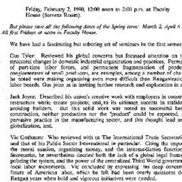 Announcements, 1990-01-10. ...