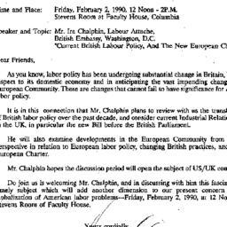Announcements, 1990-01-29. ...